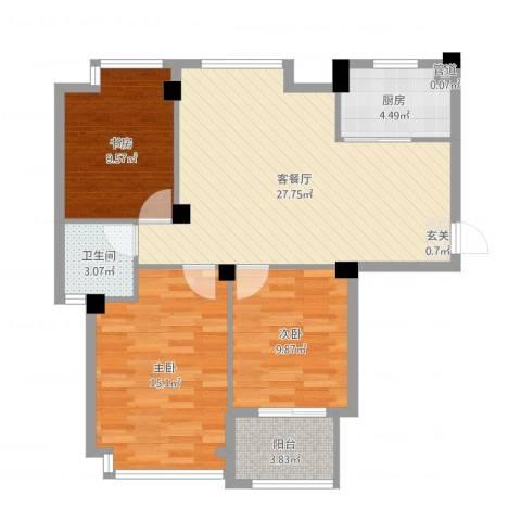 亚特蓝郡3室2厅1卫1厨92.00㎡户型图