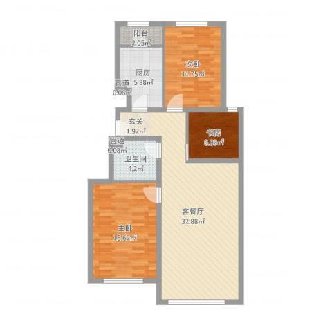 世嘉正园3室2厅1卫1厨98.00㎡户型图
