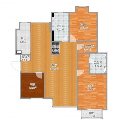 东润枫景3室1厅2卫1厨133.00㎡户型图