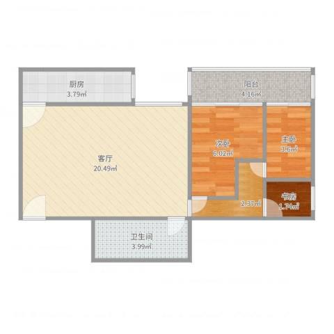 四方景园一区3室1厅1卫1厨58.00㎡户型图