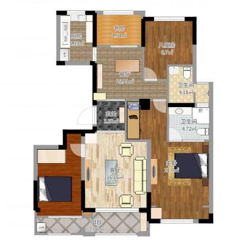 塞纳蓝湾3室2厅3卫1厨122.00㎡户型图