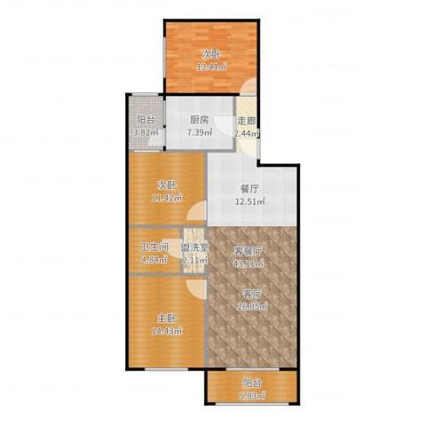 椿树园3室2厅1卫1厨130.00㎡户型图