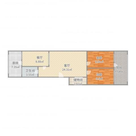 七里山路单位宿舍两室两厅一卫2室2厅1卫1厨102.00㎡户型图