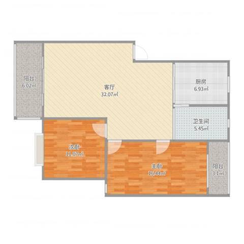 鄱阳小区,丰庭苑2室1厅1卫1厨101.00㎡户型图