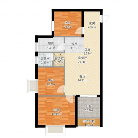 世纪一品3室2厅1卫1厨90.00㎡户型图