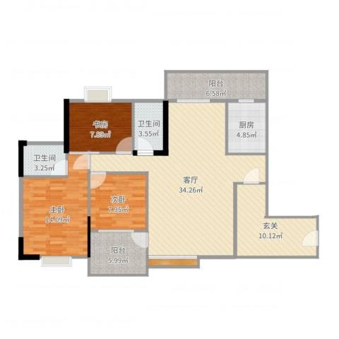 恒达花园3室1厅2卫1厨124.00㎡户型图