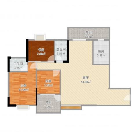 恒达花园3室1厅2卫1厨125.00㎡户型图