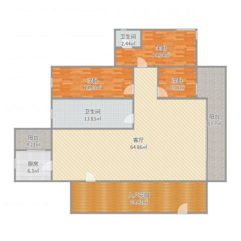 东林美域3室1厅2卫1厨207.00㎡户型图