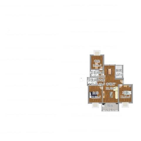 好日子大家园B区3室2厅2卫1厨138.00㎡户型图