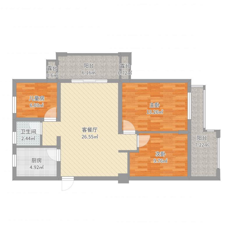 常发豪骏98方三室两厅