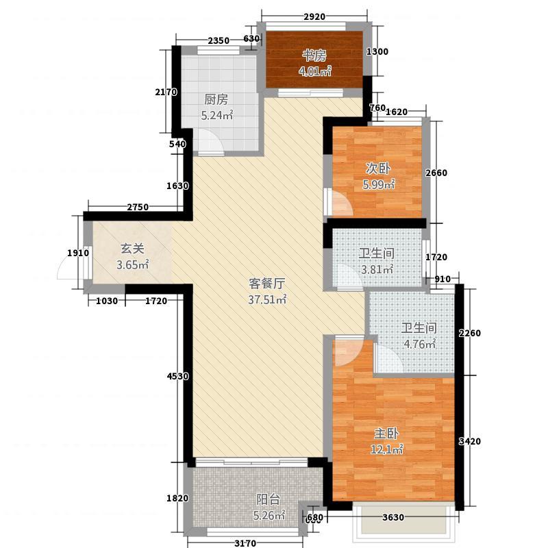 万达广场22113.20㎡C户型2室2厅2卫1厨