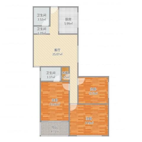 阳光广场3室1厅2卫1厨102.00㎡户型图