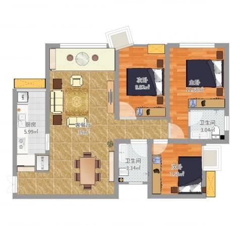 兆甲合阳新城3室2厅2卫1厨96.00㎡户型图