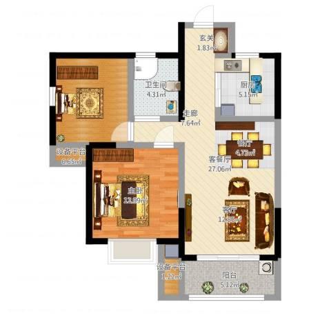 保利梧桐语1室2厅3卫1厨83.00㎡户型图