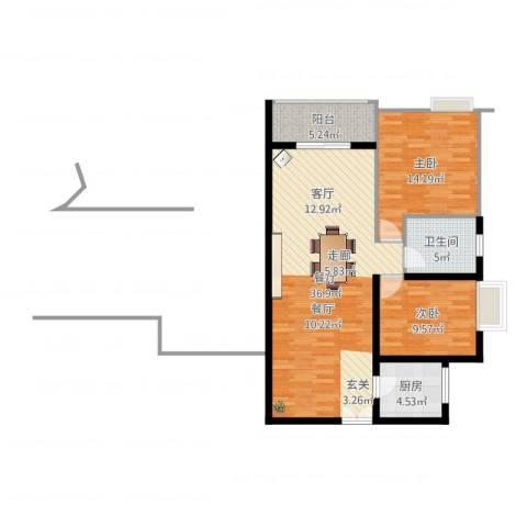 宏林名座2室1厅1卫1厨75.43㎡户型图