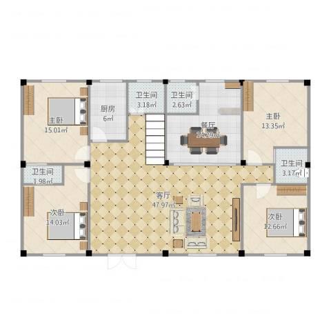 九山村4室2厅4卫1厨168.00㎡户型图