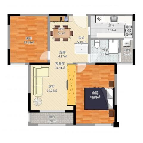 嘉乐城2室2厅1卫1厨93.00㎡户型图