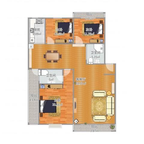 新景园一期3室2厅2卫1厨169.00㎡户型图