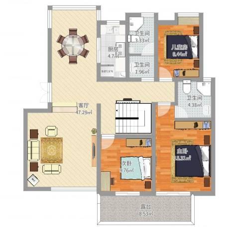 盛大开元3室1厅3卫1厨130.00㎡户型图
