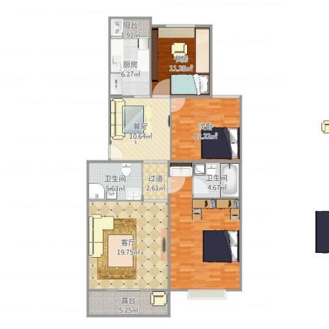 颐阳山水居2室2厅2卫1厨125.00㎡户型图