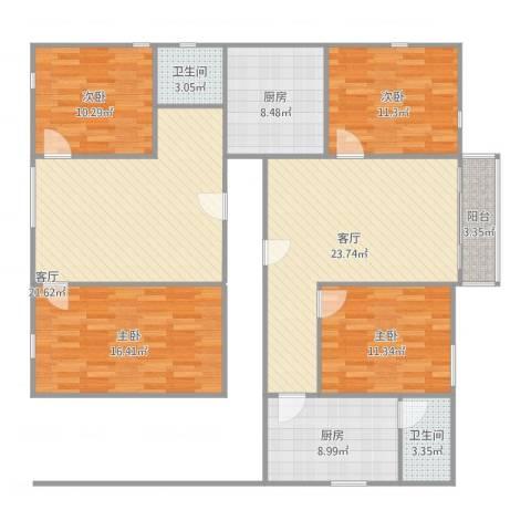 自建房4室2厅2卫2厨152.00㎡户型图
