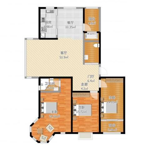 蓝钻庄园3室1厅1卫1厨164.00㎡户型图