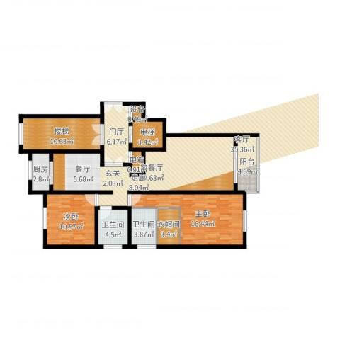 上东阳光2室2厅2卫1厨126.00㎡户型图