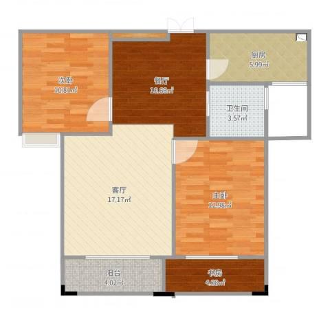 三盛颐景御园3室2厅1卫1厨87.00㎡户型图