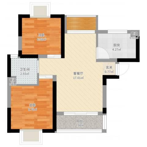 绿地启航社(河西)2室2厅1卫1厨56.00㎡户型图