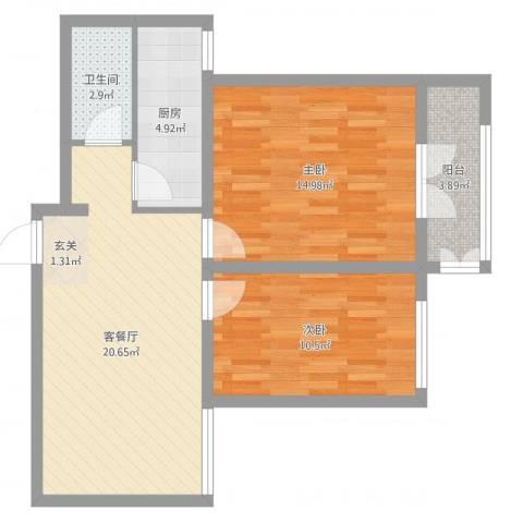 泰安盛世郡2室2厅1卫1厨57.85㎡户型图