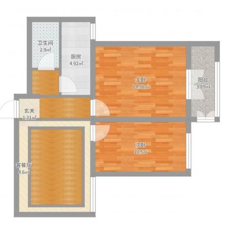 泰安盛世郡2室2厅1卫1厨70.00㎡户型图