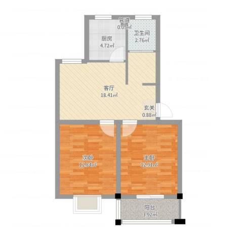 闽泰城市花园2室1厅1卫1厨70.00㎡户型图