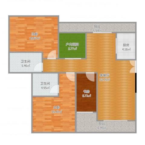 保利花园二期3室2厅2卫1厨131.00㎡户型图