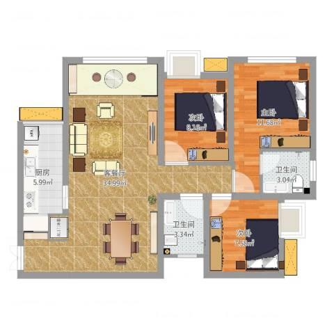 兆甲合阳新城3室2厅2卫1厨93.00㎡户型图