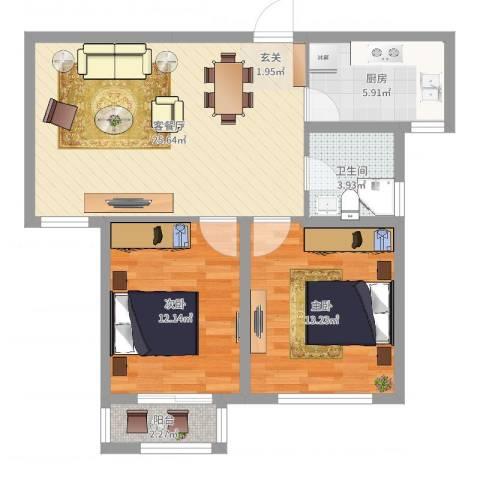 星辰明珠2室2厅1卫1厨79.00㎡户型图