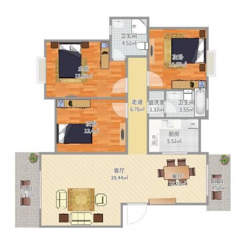 七里新村3室3厅2卫1厨92.14㎡户型图