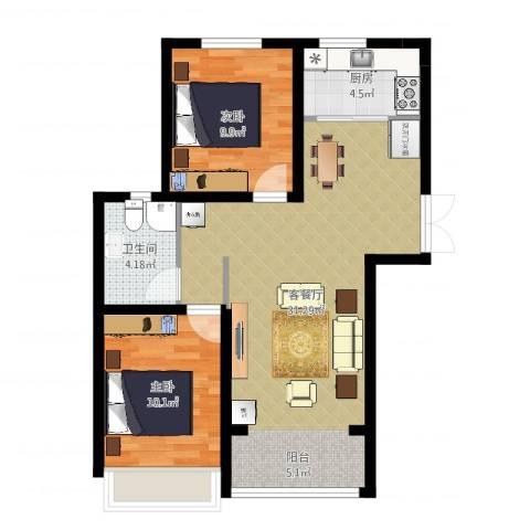 香榭家园2室2厅1卫1厨75.00㎡户型图