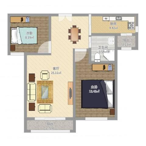 金海湾2室1厅1卫1厨73.00㎡户型图