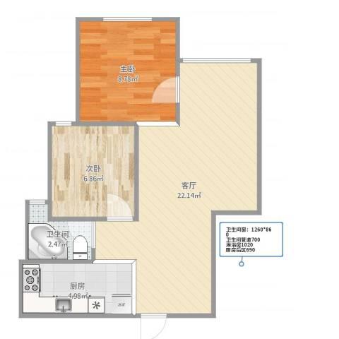 恒高家园2室1厅1卫1厨57.00㎡户型图
