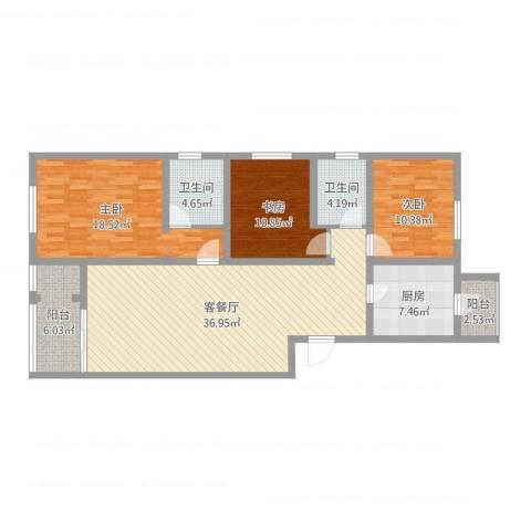 龙腾苑五区3室2厅2卫1厨127.00㎡户型图