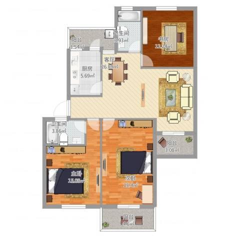 翠中小区3室1厅2卫1厨136.00㎡户型图