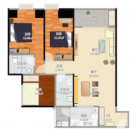 泽胜温泉城3室1厅1卫1厨107.00㎡户型图