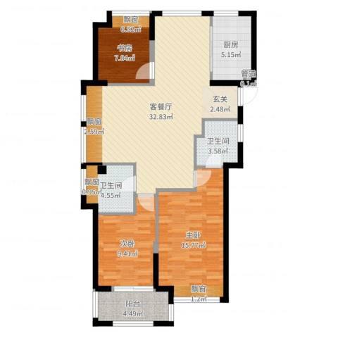 东海繁华里3室2厅2卫1厨104.00㎡户型图