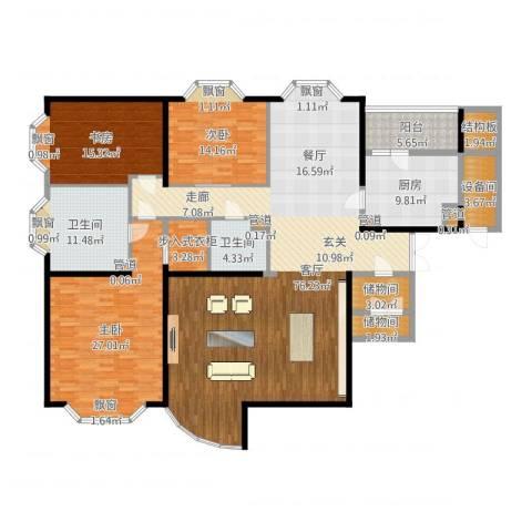通用时代国际公寓3室1厅2卫1厨223.00㎡户型图