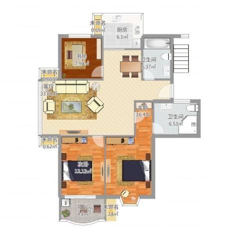 怡江春色3室1厅2卫1厨132.00㎡户型图