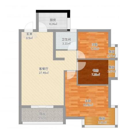 嘉豪 ・公园世家3室2厅1卫1厨89.00㎡户型图