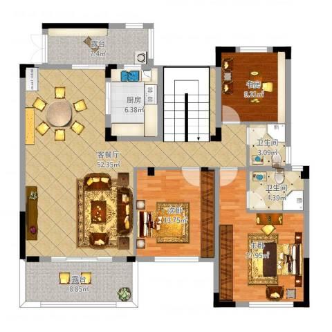振业城3室2厅2卫1厨154.00㎡户型图
