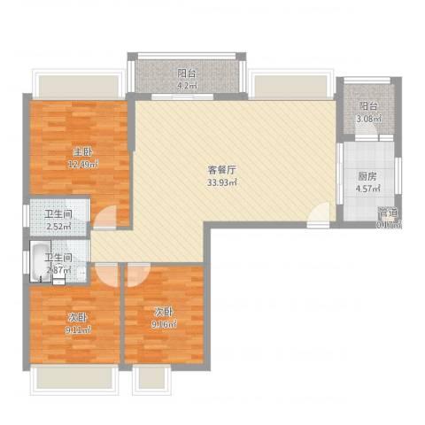健逸天地二期3室2厅2卫1厨116.00㎡户型图