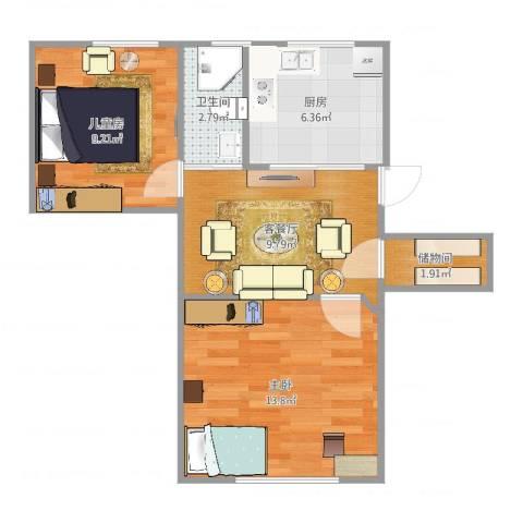马鞍山路小区2室2厅1卫1厨55.00㎡户型图