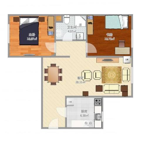 京贸家园2室1厅1卫1厨76.00㎡户型图